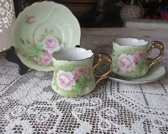 Set Of TWO 2 Lefton Hand Painted Green Heritage Pink Roses Teacup & Saucer Sets, Japan, 1987 # 05852, Geo Zoltan Lefton, Coffee Cup, Pair