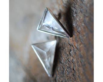 Pyramid Crystal Stud Earrings