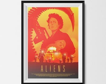 Aliens, Aliens Print, Science Fiction, SciFi Art, Ripley, Xenomorph, Alternative Movie Poster, Movie Poster, Ellen Ripley, Man Cave