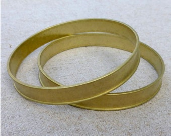 free shipping in UK - pack of 2 - bracelet, bangle, brass ROUND channel bracelet 65mm