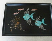 Vintage Serving Tray Collectible Fish Rare Couroc of Monterey Mid Century Modern