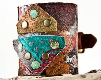 Wide Cuff with Metal Buckle - Leather Jewelry Cuffs Wristbands - Bracelet Cuff