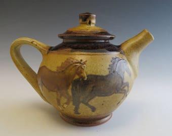 Small Teapot- Four Running Horses