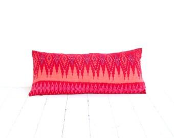 """Ikat, Cotton, Hand Woven, 10"""" x 22"""" , 26 cm x 56 cm, Zip Enclosure, Red"""