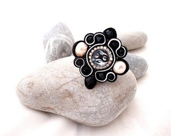 Black White Fornasetti statement ring   pearl cocktail ring   statement adjustable ring   black crystal ring   gifts for her   pearls ring
