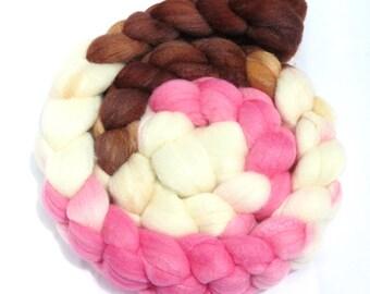 Hand Dyed Merino/Tussah Silk Top 4.3 oz - Neapolitan