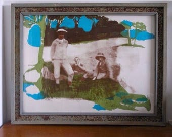 "Vintage Signed Original Silk Screen by Artist Sarai Sherman ""FAMILY ALBUM"""