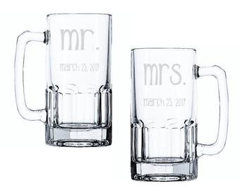 Etched Wedding Beer Mug, Mr and Mrs Glasses, Set of Etched Glasses, Mr and Mrs Beer Glass Set, Toasting Glasses, His and Hers Glasses