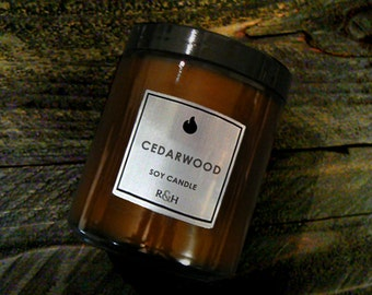 Cedar Vanilla Candle - CocoSoy Wax Candles, Cedar Wood Scented Candle, Boyfriend Gift, Fathers Day Gift for Dad - Handmade Soy Candles