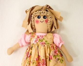 Plastic Bag Holder Doll, Pink Roses, Grocery Bag Holder, Rustic Kitchen Storage, Floral Decor, Kitchen Doll, Rag Doll, Primitive Decoration