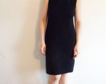 Dress Vintage Ribbed Black Knit