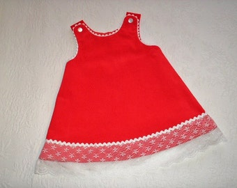 Ready to Ship Red Corduroy Jumper with iridescent rick rack and lace trim.  Size 4.  A-line style.