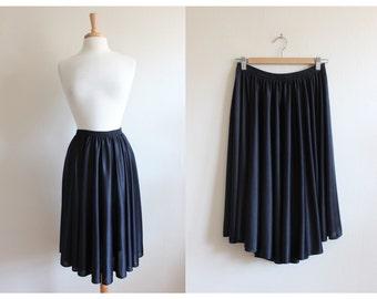 1970s Skirt / Vintage Disco Black Jersey Circle Skirt