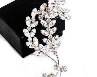 Large Clear Rhinestone Brooch, Ice White Crystals