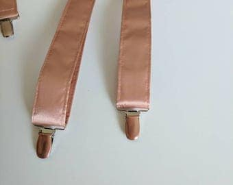 Men's Satin Suspenders. Rose Gold with Rose Gold Hardware
