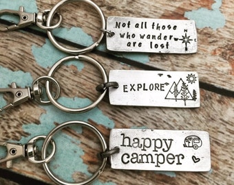Happy Camper Key Chain, Explore Key Chain, Not All Those Who Wander Are Lost Key Chain, Pewter Keychains, Key Fob, Stocking Stuffers