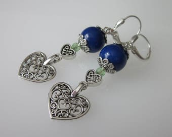 Lapis Lazuli Earrings, Lapis Dangle Earrings, Blue Stone Earrings, Lapis Earrings, Silver Lapis Dangle, Celtic Earrings, Celtic Heart Dangle