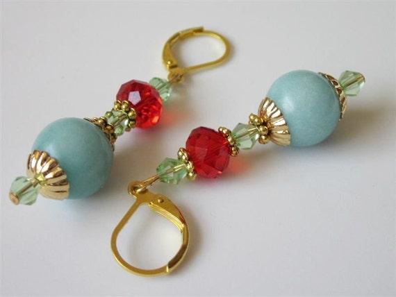 Gemstone Earrings, Aqua Amazonite Earrings, Southwestern Earrings, Gemstone and Glass Jewelry, Stone Earrings, Glass Earrings
