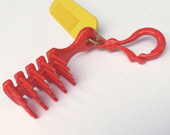 1980's Plastic Charm Brush and Comb Red Yellow Necklace Fashion Fun
