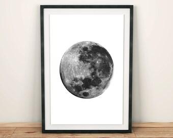 Black and White Moon Print, Minimalist Wall Art, Modern Art, Design Print, Realistic Moon