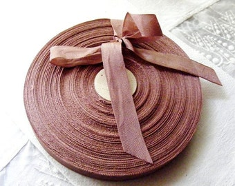 Vintage 1930's-40's French Woven Ribbon -Milliners Stock- 5/8 inch Mauve Amber