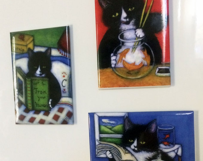 Charlie the Tuxedo Cat Refrigerator Magnets; set of 3