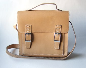 80s Leather Bag Leather Shoulder Bag Tan Purse Leather Satchel Cross Body Bag Vintage Purse