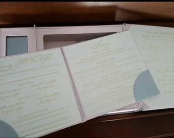 VEGAN COUTURE Wedding INVITATION Satin Invitation Box with foil printing, satin folio, vegan chocolate favors in box.