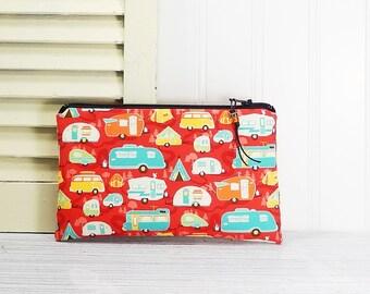Camper zipper pouch, coin purse, phone pouch, flat zipper bag, gift for camper, card cash wallet, makeup bag, coupon pouch
