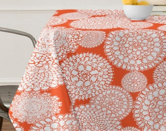 Orange Boho Tablecloth // Table Linens // Dining Room // Delightful Doilies Design // Orange // Table Decoration // Bohemian Chic // Doilies