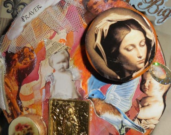 Shrine to The Virgin Mary Mixed Media Collage Two Dimensional Shrine
