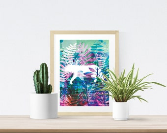 Tropical Safari Extinct Art Print - Gift for Animal Lovers - Modern Wall Art - Gift for Men - Gift for Women - Tiger- Wildlife - A4 A3 Print