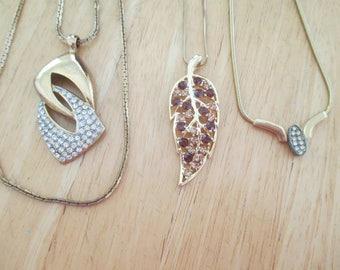 vintage costume jewelry  / 3 rhinestone gold tone necklaces