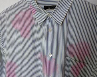 comme des garcons homme plus menswear mens shirt 'pink stain' print circa late 1990s rei kawakubo Large