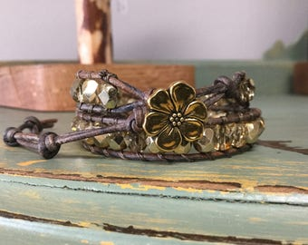 Metallic Gold Beaded Leather Double Wrap Bracelet with Flower button Closure