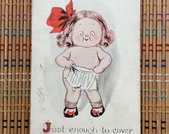 Grace Drayton Style Vintage Postcard:  Little Girl, Big Bow and Drawers