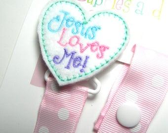Pacifier holder, pacifier clip, Jesus Heart pacifier clip, Jesus Heart baby gift, Jesus Heat binky clip, binky holder, baby shower gift