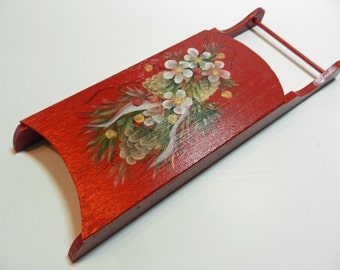 Christmas Floral Tole Painted Sled