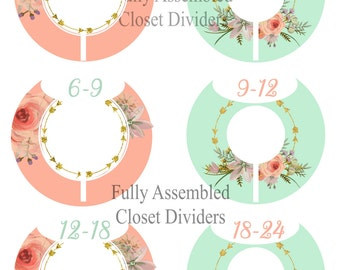 FULLY ASSEMBLED 6 Closet Dividers Organizers Baby Girl Shower Gift Nursery Decor Peach Mint Floral Arrow Baby Clothes