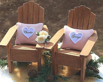 """RUSTIC BARN WEDDING Topper No Base Sale! Fits 5"""" & 6"""" Cake Top! Adirondack Chairs/Pillows Personalized Your Colors Handmade To Order"""