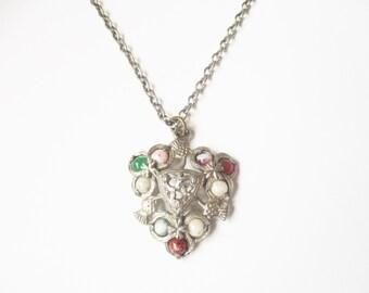 Scottish pebble pendant: Stunning Scottish polished glass, gemstone and silver tone shield shaped bohemian celtic statement pendant necklace