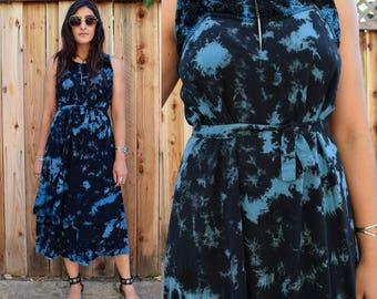 Vintage 90s TIE DYE MAXI Dress S