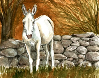 White Donkey By the Wall Artwork  LLMartin Original Watercolor  Painting  Virginia Autumn Country  Burro