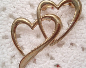 Vintage Heart PIN Double Hearts Entwined Love Valentine's Day Wedding Bridal