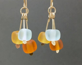 Glass bead sea glass style gold filled dangles, aquamarine and topaz beach glass drops holiday earrings gifts for women cubes gifts for moms