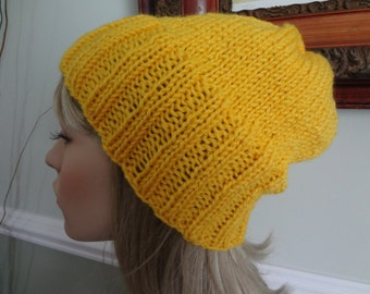 Sunshine Yellow, Sunflower, Skull Cap, Slouch, Tam Hat, Snood, Beret.  Teens, Men or Women can Wear This.