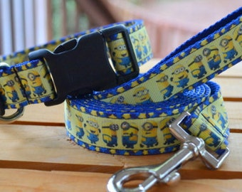 LAST ONE! Minion dog collar & leash SET on blue webbing