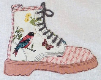 Oriental Bird Framed Boot Picture. Freehand Machine Embroidery. Based on a world famous design. One of a kind original.