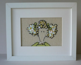 Meet Amelia Framed Freehand Embroidered by Lillyblossom with Frenchknots, beads and sequins