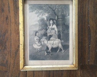 """Antique print """"Our Pets First Ride"""" in lemon gold frame"""
